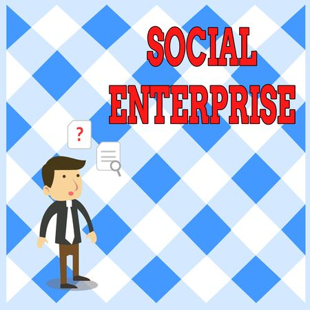 Handwriting text writing Social Enterprise. Conceptual photo Business that makes money in a socially responsible way Young Male Businessman Office Worker Standing Searching Problem Solution 写真素材