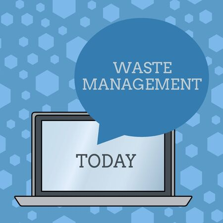 Word writing text Waste Management. Business photo showcasing actions required analysisage rubbish inception to final disposal Round Shape Empty Speech Bubble Floating Over Open Laptop Colored Backdrop Stock Photo