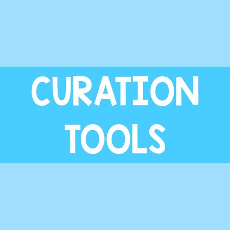 Writing note showing Curation Tools. Business concept for Software used in gathering information relevant to a topic Square rectangle paper sheet loaded with full creation of pattern theme 写真素材
