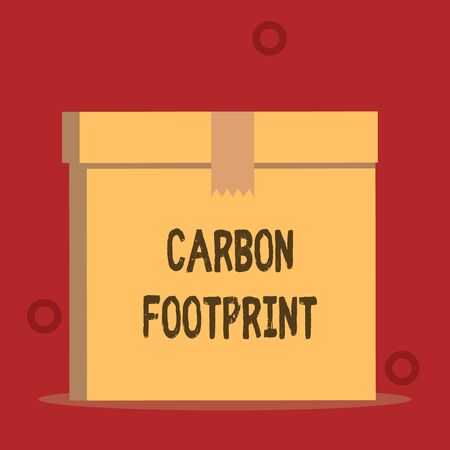 Word writing text Carbon Footprint. Business photo showcasing amount of dioxide released atmosphere result of activities Close up front view open brown cardboard sealed box lid. Blank background