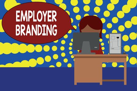 Word writing text Employer Branding. Business photo showcasing Process of promoting a company Building Reputation Young female working office sitting desktop computer office monitor photo