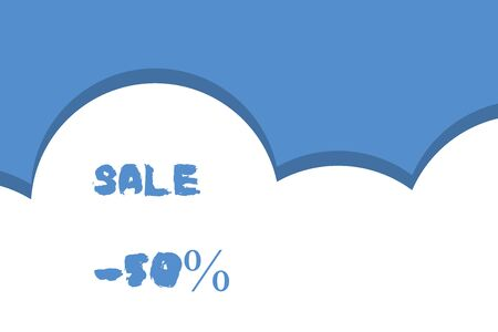 Writing note showing Sale 50 Percent. Business concept for A promo price of an item at 50 percent markdown Half cloud blue sky landscape Seamless cloudy pattern Abstract