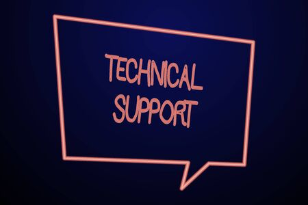 Word writing text Technical Support. Business photo showcasing Repair and advice services to users of their products Empty Quadrangular Neon Copy Space Speech Bubble with Tail Pointing Down Фото со стока
