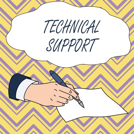 Conceptual hand writing showing Technical Support. Concept meaning Repair and advice services to users of their products Male Hand Formal Suit Holding Ballpoint Pen Piece of Paper Writing 스톡 콘텐츠 - 124987086