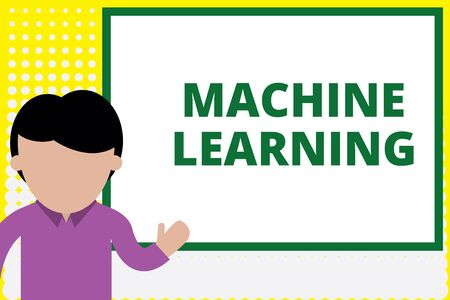 Text sign showing Machine Learning. Business photo text give computers the ability to be taught with data Young man standing in front whiteboard pointing to project. photo Art Imagens