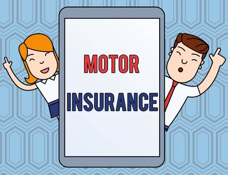 Text sign showing Motor Insurance. Business photo text Provides financial compensation to cover any injuries Male and Female Index Fingers Up Touch Screen Tablet Smartphone Device Reklamní fotografie
