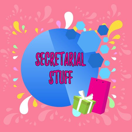 Word writing text Secretarial Stuff. Business photo showcasing Secretary belongings Things owned by demonstratingal assistant Greeting Card Poster Gift Package Presentation Box Decorated by Bowknot Stok Fotoğraf - 124987098