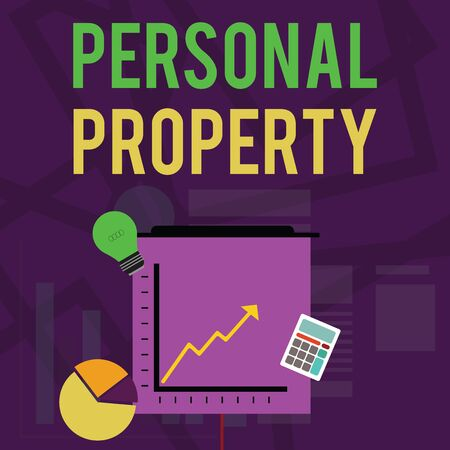 Text sign showing Personal Property. Business photo text Things that you own and can take it with you Movable Investment Icons of Pie and Line Chart with Arrow Going Up, Bulb, Calculator Reklamní fotografie