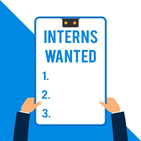 Word writing text Interns Wanted. Business photo showcasing Looking for on the job trainee Part time Working student Two executive male hands holding electronic device geometrical background