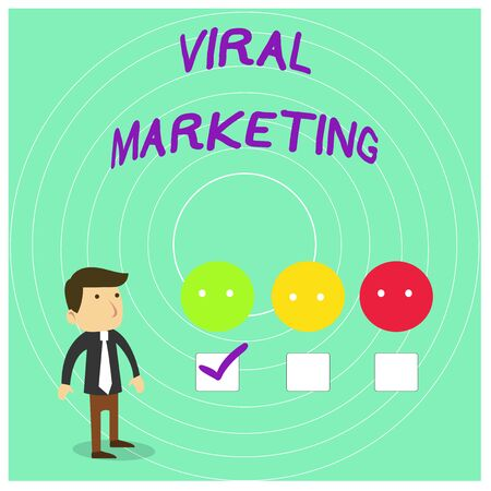 Conceptual hand writing showing Viral Marketing. Concept meaning whereby consumer encouraged share information via Internet White Questionnaire Survey Choice Satisfaction Green Tick Stock Photo