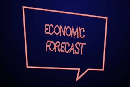 Word writing text Economic Forecast. Business photo showcasing Process of making predictions about the economy condition Empty Quadrangular Neon Copy Space Speech Bubble with Tail Pointing Down Banco de Imagens - 124987123