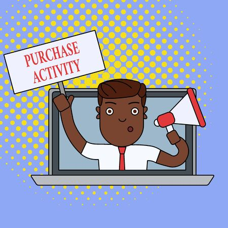 Text sign showing Purchase Activity. Business photo showcasing Acquiring goods to achieve the goals of an organization Man Speaking Through Laptop Screen into Megaphone Blank Plate with Handle