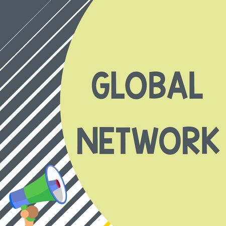 Writing note showing Global Network. Business concept for Any communication system which spans the entire Earth Old design of speaking trumpet loudspeaker for talking to audience
