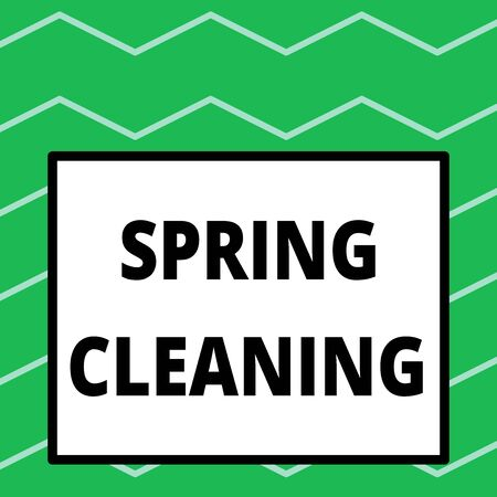 Writing note showing Spring Cleaning. Business concept for practice of thoroughly cleaning house in the springtime Big square background inside one thick bold black outline frame Фото со стока