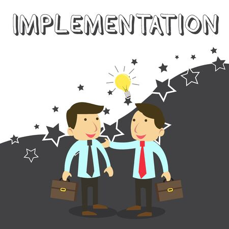 Wort schreiben Text Implementierung. Geschäftsfoto, das den Prozess zeigt, etwas aktiv oder effektiv zu machen, zwei weiße Geschäftsleute Kollegen mit Aktenkoffern, die Ideenlösung teilen