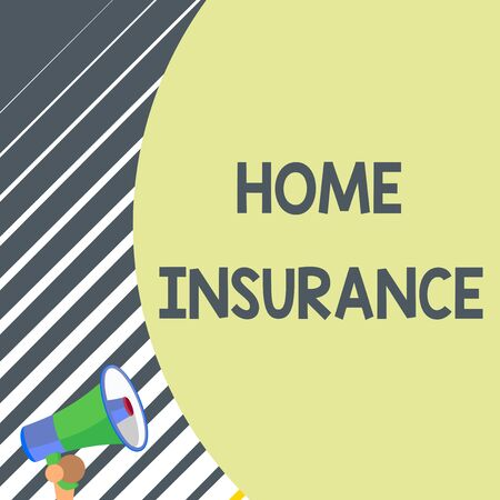 Writing note showing Home Insurance. Business concept for Covers looses and damages and on accidents in the house Old design of speaking trumpet loudspeaker for talking to audience