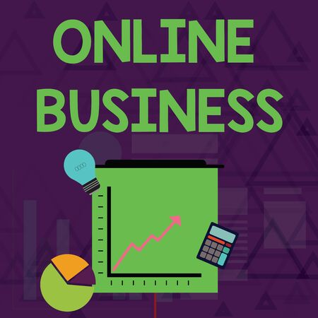 Writing note showing Online Business. Business concept for Commercial transaction sharing information in the internet Investment Icons of Pie and Line Chart with Arrow Going Up