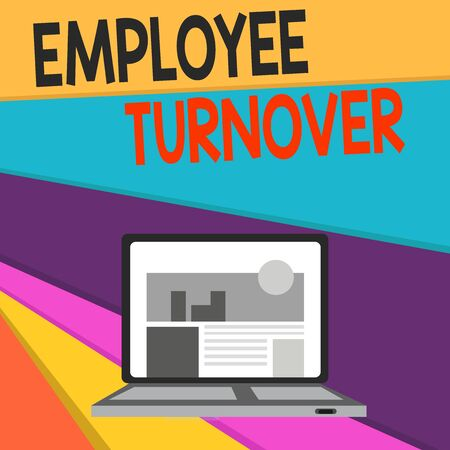 Handwriting text writing Employee Turnover. Conceptual photo Number or percentage of workers who leave an organization Open Modern Laptop Switched On with Website Homepage on Screen Web Search Banco de Imagens