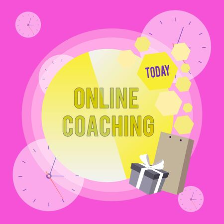 Conceptual hand writing showing Online Coaching. Concept meaning Learning from online and internet with the help of a coach Greeting Card Poster Gift Package Box Decorated by Bowknot
