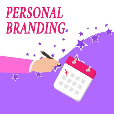 Text sign showing Personal Branding. Business photo text Practice of People Marketing themselves Image as Brands Male Hand Formal Suit Crosses Off One Day Calendar Red Ink Ballpoint Pen