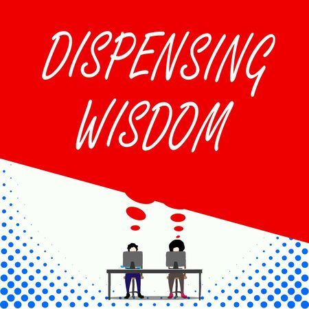 Text sign showing Dispensing Wisdom. Business photo text Giving intellectual facts on variety of subjects Two men sitting behind desk each one laptop sharing blank thought bubble 写真素材