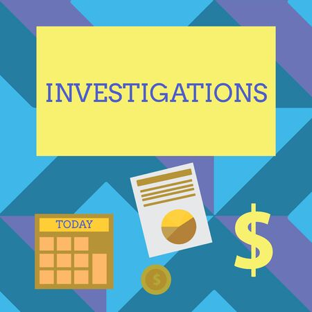 Text sign showing Investigations. Business photo showcasing The formal action or systematic examination about something Computing Dollar Investment in Gold and Presenting Data thru Pie Chart Graph