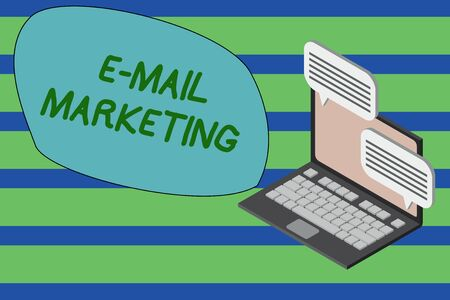 Writing note showing E Mail Marketing. Business concept for Ecommerce Advertising Online sales Newsletters Promotion Laptop receiving sending information internet wireless