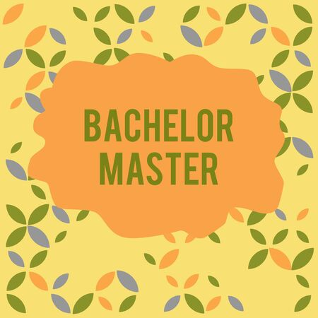 Conceptual hand writing showing Bachelor Master. Concept meaning An advanced degree completed after bachelor s is degree Seamless Summer Autumn Leaf Texture Multicolored Pattern