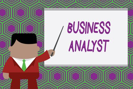 Conceptual hand writing showing Business Analyst. Concept meaning someone who analyzes big organization or website domain Businessman standing in front projector pointing project idea Stock Photo