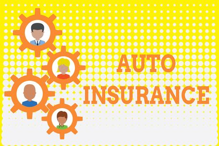 Conceptual hand writing showing Auto Insurance. Concept meaning Protection against financial loss in case of accident Gearshaped picture frame family ornament Whole Family photo