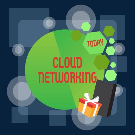 Writing note showing Cloud Networking. Business concept for is term describing access of networking resources Greeting Card Poster Gift Package Presentation Box Decorated by Bowknot