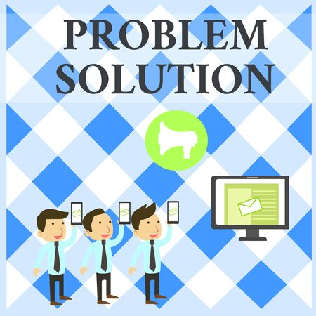 Text sign showing Problem Solution. Business photo showcasing solving consists of using generic methods in orderly analysisner SMS Email Marketing Media Audience Attraction Personal Computer Loudspeaker
