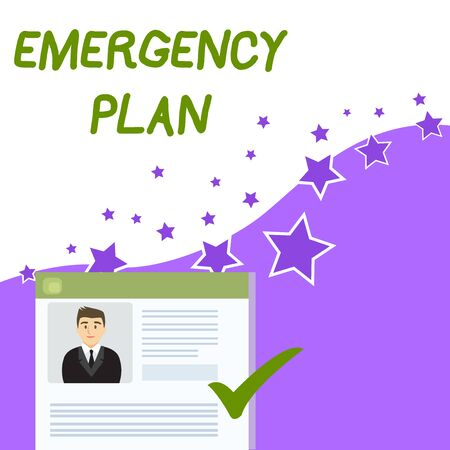 Text sign showing Emergency Plan. Business photo showcasing Procedures for response to major emergencies Be prepared Curriculum Vitae Resume of Young Male Candidate Marked by Colored Checkmark