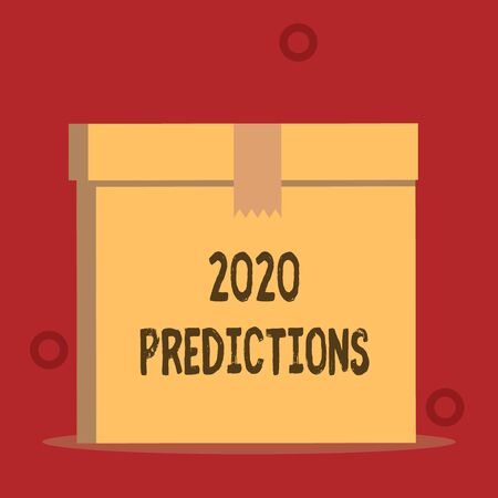 Word writing text 2020 Predictions. Business photo showcasing list of things you feel that going to happen without proof Close up front view open brown cardboard sealed box lid. Blank background