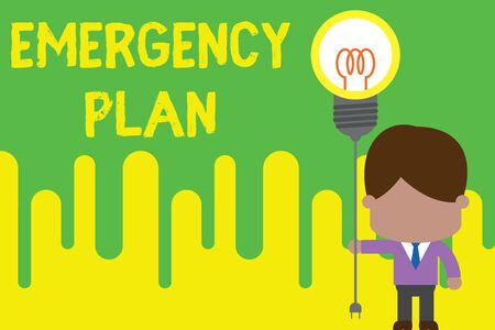Handwriting text Emergency Plan. Conceptual photo Procedures for response to major emergencies Be prepared Standing man tie holding plug socket light bulb to connect idea. Startup Фото со стока - 124990149