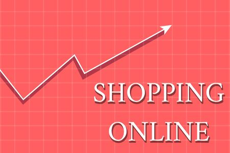 Conceptual hand writing showing Shopping Online. Concept meaning buying you want through internet website then deliver it Crook White Progress Arrow with Shadow Quadrille Background