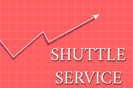 Conceptual hand writing showing Shuttle Service. Concept meaning vehicles like buses travel frequently between two places Crook White Progress Arrow with Shadow Quadrille Background