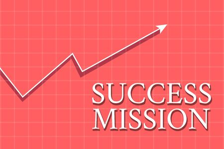 Conceptual hand writing showing Success Mission. Concept meaning getting job done in perfect way with no mistakes Task made Crook White Progress Arrow with Shadow Quadrille Background