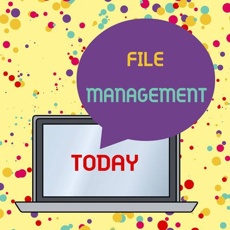 Text sign showing File Management. Business photo text computer program that provides user interface to analysisage data Round Shape Empty Speech Bubble Floating Over Open Laptop Colored Backdrop