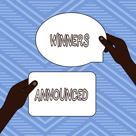 Handwriting text writing Winners Announced. Conceptual photo Announcing who won the contest or any competition Two Blank Figured Tablets Signs Held in Hands One Above Other Text Space Stock Photo - 124928043