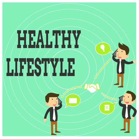 Conceptual hand writing showing Healthy Lifestyle. Concept meaning Live Healthy Engage in physical activity and exercise Businessmen Coworker Conference Call Discussion Mobile Phone