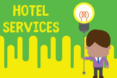 Handwriting text Hotel Services. Conceptual photo Facilities Amenities of an accommodation and lodging house Standing man tie holding plug socket light bulb to connect idea. Startup