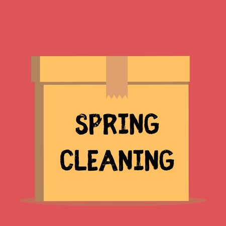 Handwriting text Spring Cleaning. Conceptual photo practice of thoroughly cleaning house in the springtime Close up front view open brown cardboard sealed box lid. Blank background