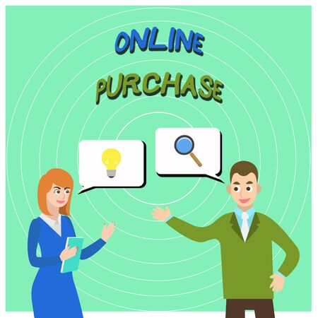 Conceptual hand writing showing Online Purchase. Concept meaning Purchases electronic commerce goods from over the Internet Business Partners Colleague Jointly Seeking Problem Solution
