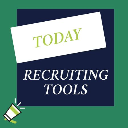 Writing note showing Recruiting Tools. Business concept for getting new talents to your company through internet or ads Speaking trumpet on left bottom and paper to rectangle background