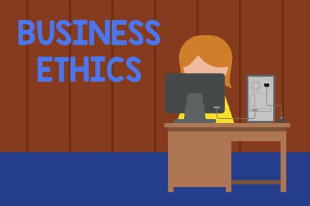 Word writing text Business Ethics. Business photo showcasing Moral principles that guide the way a business behaves Young female working office sitting desktop computer office monitor photo Reklamní fotografie