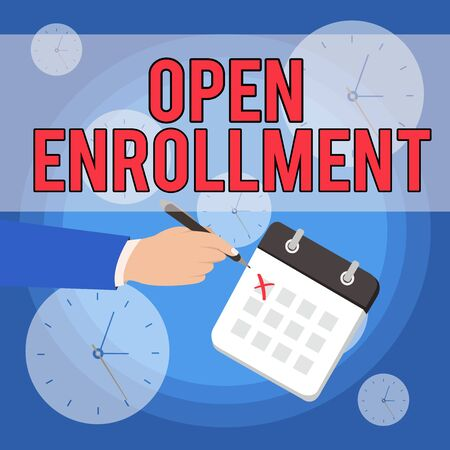Text sign showing Open Enrollment. Business photo showcasing The yearly period when showing can enroll an insurance Male Hand Formal Suit Crosses Off One Day Calendar Red Ink Ballpoint Pen