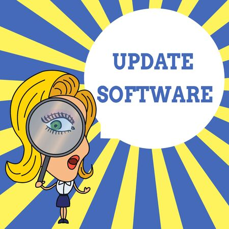Word writing text Update Software. Business photo showcasing replacing program with a newer version of same product Woman Looking Trough Magnifying Glass Big Eye Blank Round Speech Bubble