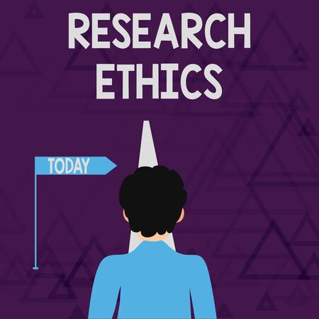 Writing note showing Research Ethics. Business concept for interested in the analysis ofethicalissues that raised Man Facing Distance and Blocking the View of Straight Narrow Path Stock Photo - 124928501