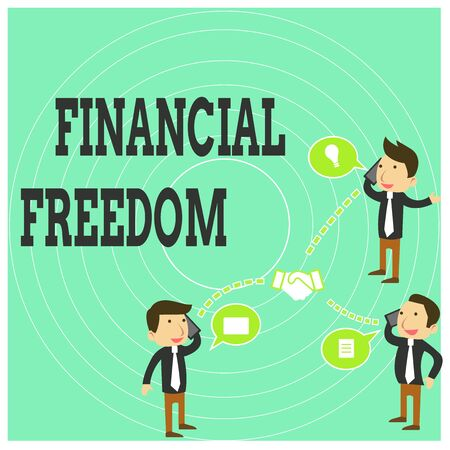 Conceptual hand writing showing Financial Freedom. Concept meaning Having money Free from worry when it comes to cash flow Businessmen Coworker Conference Call Discussion Mobile Phone Stock Photo